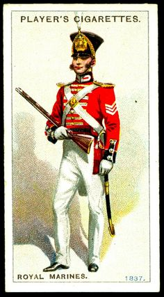 """In 1836 ten Royal Marines accompanied Governor John Hindmarsh to establish the Colony of South Australia. Their duty was to act as vice-regal guards and keep the peace. However they left the Colony in 1838 and were not replaced until """"Redcoats"""" arrived in British Army Uniform, British Uniforms, British Soldier, Navy Uniforms, Military Uniforms, Military Units, Military Personnel, Military History, Military Cards"""