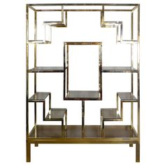 Baughman Style Brass Plated Display Shelves Circa 1960