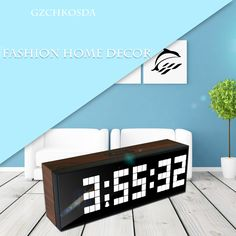 The only 9 White led clock. Click the picture! #led clock #alarm clock #digital clock #wooden #wall clock