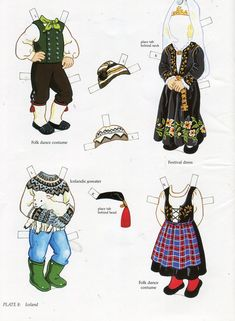 book - libro - scandinavian girl and boy - paper doll - iceland Paper Doll Costume, Folk Costume, Paper Toys, Paper Crafts, Usa Culture, Costumes Around The World, World Thinking Day, Origami Paper Art, Vintage Paper Dolls
