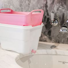 Mini Strucket Pink/White   Organised HQ Cleaning Toys, Bathroom Cleaning, Cleaning Wipes, Clean Hairbrush, Marinate Meat, Makeup Wipes, Baby Bottles, Pink White, Countertops