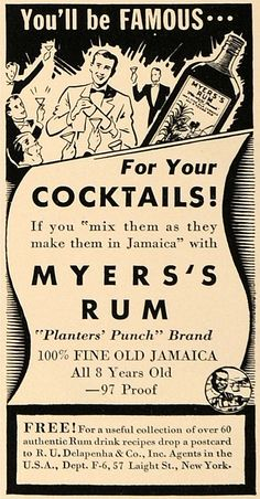 1938 Ad R U Delapenha Myers's Rum Cocktails Alcohol - ORIGINAL ADVERTISING #vintage #cocktails #alcohol #advertising
