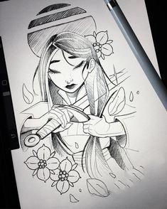 64 Best Ideas Tattoo Disney Mulan Beautiful, - La mejor imagen sobre diy crafts para tu gusto Estás buscando algo y no has podido alcanzar la im - Disney Drawings Sketches, Disney Princess Drawings, Disney Princess Art, Disney Fan Art, Cute Drawings, Drawing Sketches, Disney Character Drawings, Ink Drawings, Beautiful Drawings