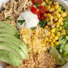 Lime Chicken Taco Bowls Recipes Taco Bowls loaded with perfectly shredded and seasoned lime chicken that's made in the crock pot! Serve with rice, corn, lettuce, cheese,. Baked Orange Chicken, Lime Chicken Tacos, Fiesta Chicken, Chicken Enchiladas, Chicken Rice Bowls, Corn Chicken, Buffalo Chicken, Chicken Salad, Taco Bowls