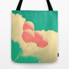 Happy Pink Balloons on retro blue sky  Tote Bag by AC Photography - $22.00