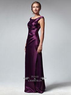 Elegant Satin Plicated Plum Violet Long Bridesmaid Dress 3