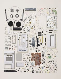 things organized neatly: sony walkman parts Futurama, Shadow Creatures, Things Organized Neatly, Technology Posters, Exploded View, Coming Apart, Everyday Objects, Art Plastique, Design Process