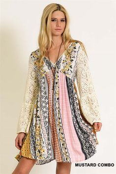 Kori Boho Country Lace Dress - Lace bell sleeves, crochet v-neck line. Billowy babydoll style. Throw on and go, looks really cute with cowboy boots. Ideal for country music concerts and festivals.