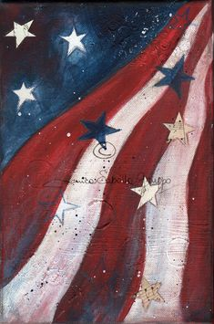 American flag canvas wall art painting by dreamercreations for Painted american flag wall art