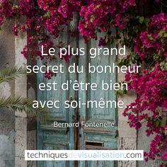 Techniques de Visualisation - Citation - Bernard Fontenelle - Le plus grand secret du bonheur est d'être bien avec soi-même. #proverbe #citation #bonheur #positive