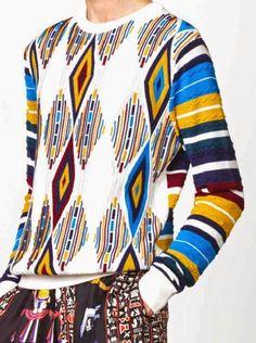www.cewax.fr aime ce look homme en pagne wax africain, afro tendance, style ethnique. Trouvez des Teeshirt en pagne dans la boutique de CéWax : http://cewax.alittlemarket.com #wax, #ankara, #kente, #kitenge, #bogolan, #Africanfashion, #ethnotendance, #AfricanPrints - patternprints journal: PRINTS, PATTERNS AND DETAILS FROM RECENT PARIS FASHION WEEK (MENSWEAR SPRING/SUMMER 2015) / Jean Paul Gaultier