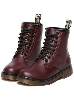 Wine Red Chunky Heel Round Toe PU Boots 40.00