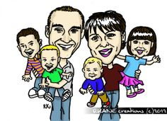 Caricature of the Nellis family - Sharpie and GIMP