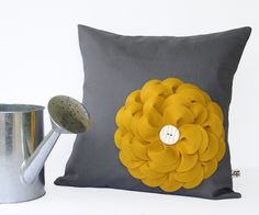 16in PILLOW COVER Charcoal Gray Linen Mustard Yellow Felt Flower with Ceramic Button by JillianReneDecor Summer Home Decor. $49.50, via Etsy.