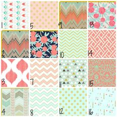 Custom Crib Bedding in Mint  Navy and Coral floral tribal boho chic by TheHeartofHope on Etsy https://www.etsy.com/listing/120254955/custom-crib-bedding-in-mint-navy-and