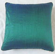 throw pillow cover with bugle bead trim 18 inch