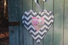 Items similar to Wooden Valentine Heart Decoration- door hanger - with grey and white chevron pattern-burlap and fabric rosettes on Etsy