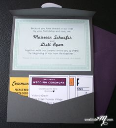 Absolutely Adorable!  Pocket Monopoly Board Game Themed Wedding Invitations by onelittlem