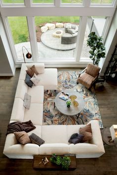 Outside the Box When Furnishing Your Space Living room furniture arrangement with large off-white sectional. Love this look (and that rug)Living room furniture arrangement with large off-white sectional. Love this look (and that rug) Cheap Living Room Furniture, Best Living Room Design, Living Room Sets, Living Room Design Layout, Open Living Room Design, Living Room Sectional, Living Room Furniture Layout, Furniture Arrangement, White Furniture Living Room