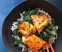 Asian Salmon Bowl with Lime Drizzle -the spinach looks incredible #dinner #salmon #healthy