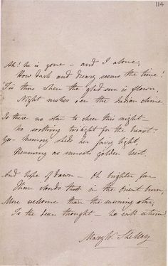 Mary Shelley's handwritten poem, Absence, on the death of her husband, Percy Shelley.