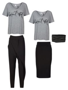 """One T-Shirt Two Ways"" by uptownsweats on Polyvore featuring Tshirt, women, fashionset and uptownsweats"