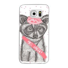 Funny girly raccoon illustration pink tiara by Girly Trend - iPhone 7... ($40) ❤ liked on Polyvore featuring accessories, tech accessories and android case