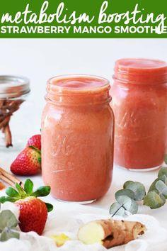 Metabolism-Boosting Strawberry Mango Smoothie strawberryandmangosmoothie metabolismboostingsmoothie healthysmoothierecipe thebutterhalf The Butter Half # Strawberry Mango Smoothie, Mango Smoothie Recipes, Homemade Smoothies, Smoothie Bowl, Fruit Recipes, Healthy Smoothies, Drink Recipes, Strawberry Plant, Dinner Recipes