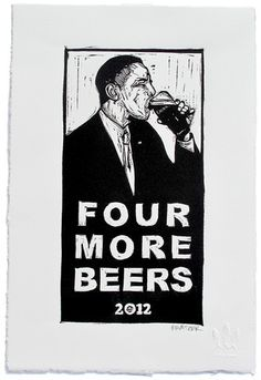 Four More Beers Linocut Print by Eric Rewitzer 3 Fish Studios