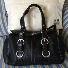 Coach Black Pebble Leather Chelsea Turnlock Purse Model 12334, Excellent condition. Clean inside and out, black hang tag, dust cover included. Coach Bags Satchels