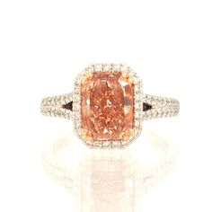 Pink Diamond Ring, 2.66Ct Fancy Brownish Orangy Pink Halo Ring, 2.66 Carat