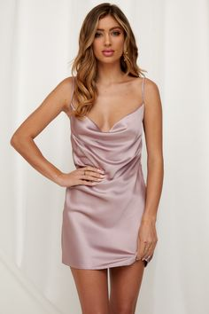 The Of A Different Kind Dress is the little bit of luxe your wardrobe will love! It has a cowl neckline, adjustable shoulder straps, an invisible side zip and it's made from super soft satin fabric. Source by gorbushkakaty dresses elegant Hoco Dresses, Blush Dresses, Quinceanera Dresses, Satin Dresses, Elegant Dresses, Homecoming Dresses, Sexy Dresses, Cute Dresses, Dress Outfits