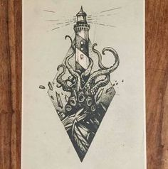 Action-packed of a lighthouse …, … – octopus tattoo Kunst Tattoos, Body Art Tattoos, Sleeve Tattoos, Small Tattoos, Ship Tattoos, Ankle Tattoos, Arrow Tattoos, Tattoo Small, Word Tattoos