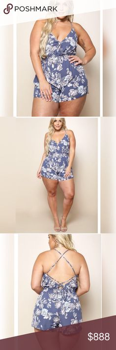 JUST IN! PLUS size sexy blue romper w/ flowers NEW PLUS SIZE Sexy blue romper with flowers! Perfect for summer! Shorts