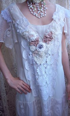 Upcycled lace dropped waist dress