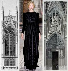 This outfit is from Valentino Fall couture 2011, the designer using medieval architecture as an inspiration. This dress also has the style features from 1840-1900 aesthetic or artistic dress, no stays, bustles, or hoops. This collection really has medieval & gothic influences. 02/07/16 YC