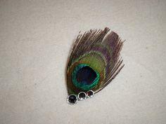 Peacock hair Clip  rhinestone hair clip  by AKMFloralsAndCrafts
