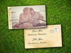 """Vintage Rustic French Adelia Customizable 3"""" x 5"""" Wedding Photo Escort Card - 100 Pieces PRINTED Double Sided Premium Postcard"""