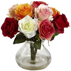 This realistic silk flower arrangement features a variety of multi-colored full rose blooms in a glass vase.