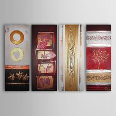 Hand-painted Abstract Oil Painting with Stretched Frame - Set of 4 – USD $ 179.99