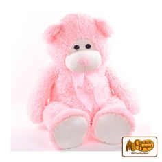 This big pink bear makes a great cuddle-mate, with soft plush fur and a super-soft filling. Her friendly face, big pink nose and little round black eyes are gentle and simple, and the pink bow around her neck gives her a touch of extra sweetness.      Answer fun questions and you could win in the Cracker Barrel Old Country Store Pick it to Win it Sweepstakes. Start 'picking' your answers at crackerbarrel.com/win (ends Jan 2, 2013).