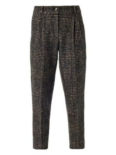 CHECK CROPPED PEG TROUSER . •These dark-brown and camel check alpaca and wool blend tailored trousers have a high rise and a tapered leg which is cropped to the ankle with front pleating details. •The trousers have a top button and zipped front fastening, slanted side pockets, buttoned back jet pockets and belt loops. •45% alpaca, 45% wool, 10% polyamide. AW13