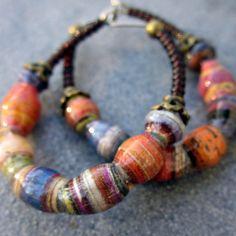 Beaded Hoop Earrings with Handmade Paper Beads Cindall