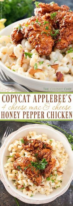 50 More Best Copycat Recipes From Top Restaurants - Copycat Applebee's 4 Cheese Mac&Cheese Honey Pepper Chicken - Awesome Recipe Knockoffs and Recipe Ideas from Chipotle Restaurant, Starbucks, Olive Garden, Cinabbon, Cracker Barrel, Taco Bell, Cheesecake Factory, KFC, Mc Donalds, Red Lobster, Panda Express http://diyjoy.com/best-copycat-restaurant-recipes