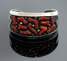 Vintage Navajo Sterling Silver Coral Cuff by SITFineJewelry