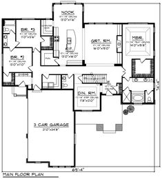 Find your dream craftsman style house plan such as Plan which is a 2495 sq ft, 3 bed, 2 bath home with 3 garage stalls from Monster House Plans. House Plans And More, Best House Plans, Dream House Plans, House Floor Plans, Dream Houses, Tiny Houses, House Plans 3 Bedroom, Ranch House Plans, Modern House Design