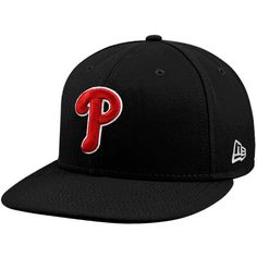 New Era Philadelphia Phillies Black-Red League Basic Fitted Hat Fit 4 6e07483b2aa9