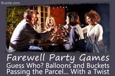 Farewell party games Farewell Party Games, Farewell Party Invitations, Farewell Parties, Funny Party Games, Birthday Party Games, Party Party, Outdoor Party Games, Outdoor Games For Kids, Party Activities