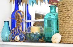 décoration marine avec billes de verre cristal et corde marine