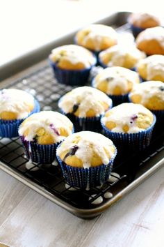 Blueberry Lemon Muffins with Cream Cheese Glaze